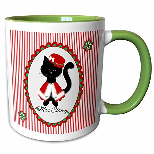 3dRose Charlyn Woodruff - CW Designs - Christmas Cats - Cute Christmas Red Striped Black Kitty Cat Mrs Santa Claws - 15oz Two-Tone Green Mug (mug_185061_12) ()