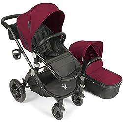 Baby Roues LeTour Avant Canvas Stroller with Bassinet - Cardinal / Black Frame
