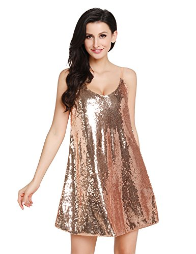 GRAPENT Women's Sexy Champagne Sequins V Neck Mini Slip Loose Club Party Dress Size X-Large (US 16-18)