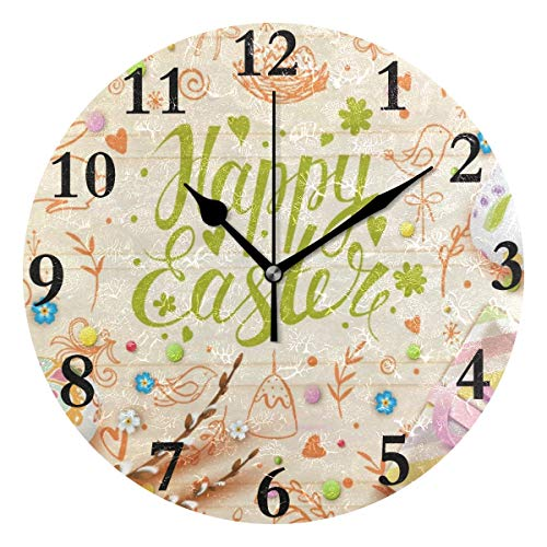 NMCEO Round Wall Clock Hello Welcome Spring Happy Easter