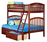 Richland Bunk Bed with 2 Urban Bed Drawers, Twin Over Full, Antique Walnut
