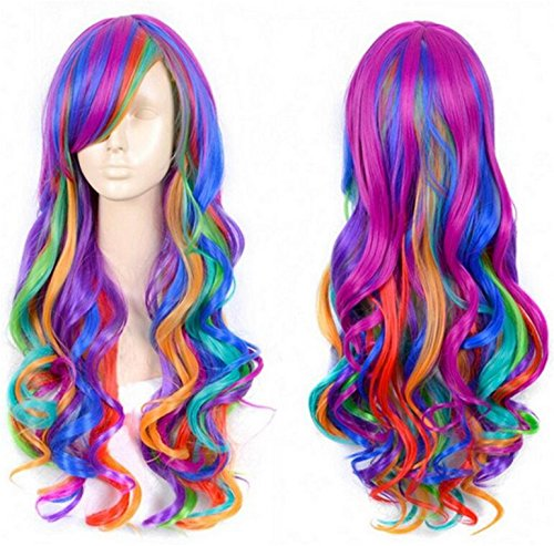 Womens Costume Wigs Uk (Cool2day Fashion Women Rainbow Long Curly Wavy Hair Full Cosplay Lolita Party Wig)