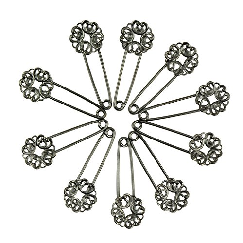 MonkeyJack 10Pcs Exquisite Floral Filigree Copper Hollow Flower Heart DIY Brooch Hijab Pins Jewelry for Women 's Handmade Findings - Black