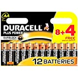12 x AA Duracell Plus Power 1.5V Alkaline Batteries LR06 - 1 Pack of 8+4