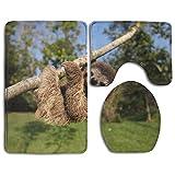 HAIDILUN Sloth Embrace Tree 3 Piece Bath Rug Set Non-Slip Bathroom Large Mat 19.5' x 31