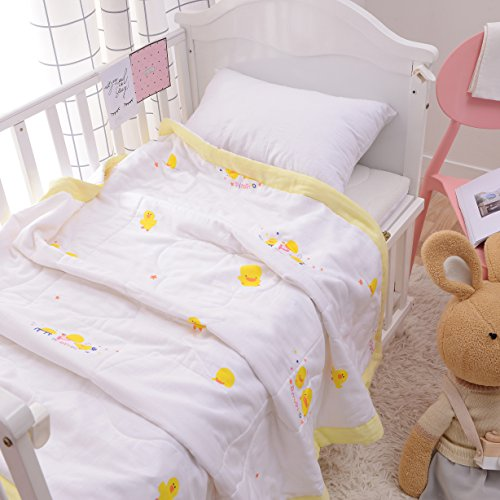 "J-pinno Baby Little Ducks Nursery Muslin Cotton Bed Quilt Blanket Crib Coverlet 43.5"" X 47"" (duck) from J-pinno"