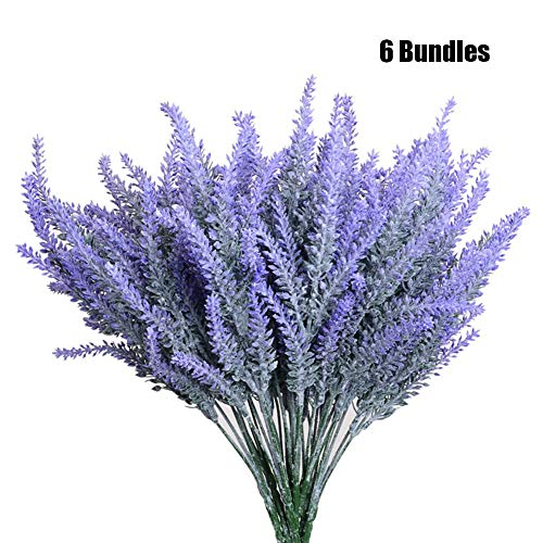 YOUKOOD 6 Bundles Artificial Lavender Flowers Flocked Plastic Plants Bountiful Flower Arrangement for Wedding Home Kitchen Office Table Centerpieces Arrangements Christmas Decor (6 Pcs Set) -