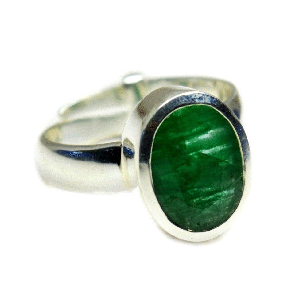 Jewelryonclick 7 Carat Gemstone Natural Emerald Silver Adjustable Ring Size 5,6,7,8,9,10,11,12,13