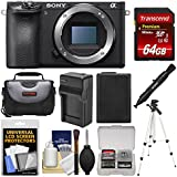 Sony Alpha A6500 4K Wi-Fi Digital Camera Body with 64GB Card + Case + Battery & Charger + Tripod + Kit