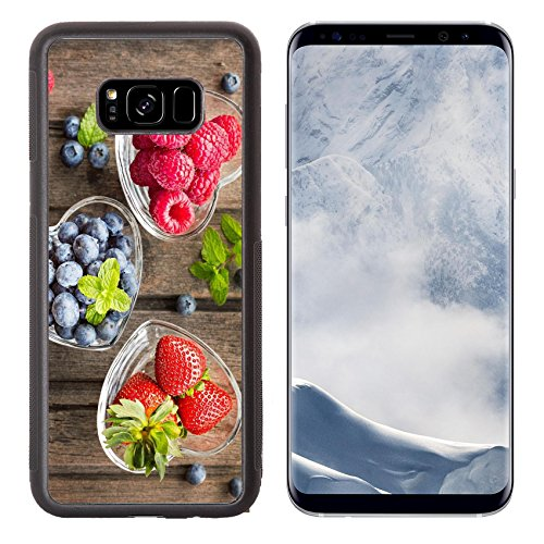 Luxlady Samsung Galaxy S8 Plus S8+ Aluminum Backplate Bumper Snap Case IMAGE ID: 41294551 Mix of fresh berries in three glass ramekins in shape of heart on wooden background top view h ()