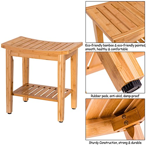 totoshopbathseat New Bamboo Shower Seat Bench Bathroom Spa Bath Organizer Stool w/Storage Shelf 18'' by totoshopbathseat (Image #5)