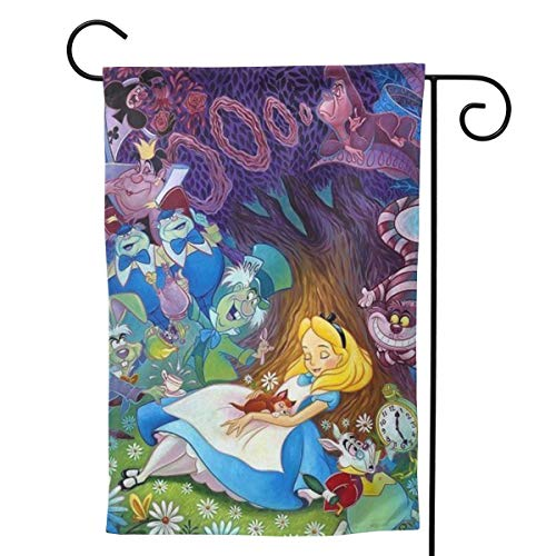 LOSJDUU Alice in Wonderland Unique Double Sided Garden Flag Yard Decorations Flag for Outdoor Use 100% Waterproof Polyester Flags