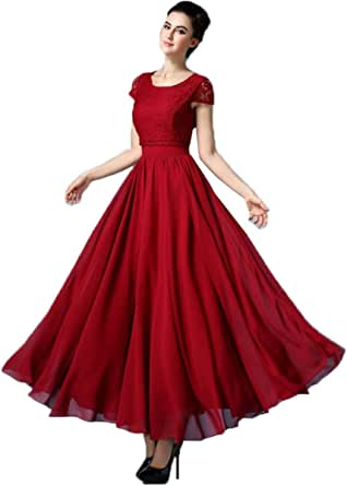 Red Formal Long Women Evening Party Cocktail Prom Wedding Office Home Dress