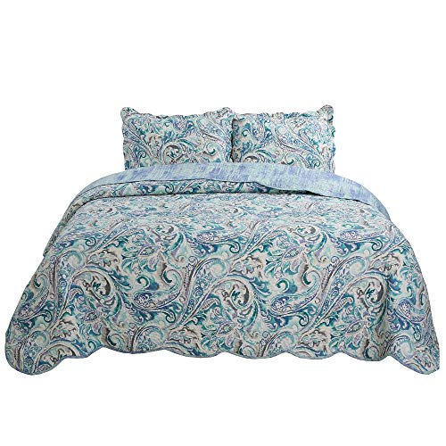 vivinna home textile 3-Piece Fine Printed Quilt Set Green Paisley Reversible Bedspread Coverlet Full/Queen
