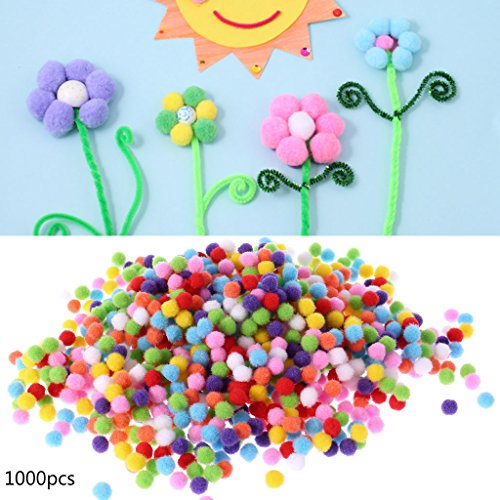 Itlovely 1000Pcs Soft Round Fluffy Craft Pompoms Ball Mixed Color Pom Poms 10mm DIY Craft by Itlovely (Image #1)