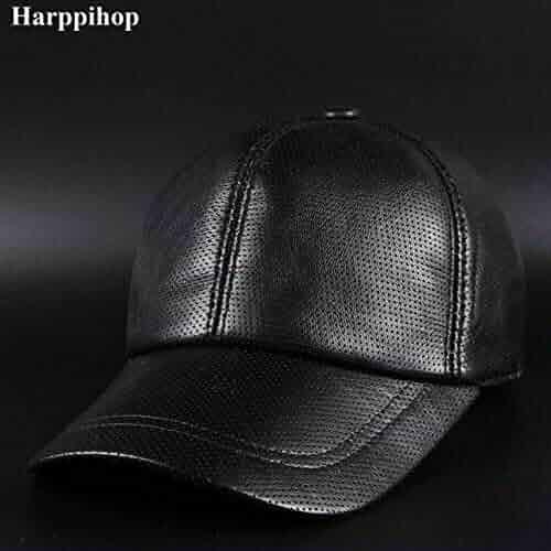262d50e6 Men's Leather Baseball Cap Hat Pure Sheepskin Casual Leather Peaked Cap  Hole Drilling Ventilation
