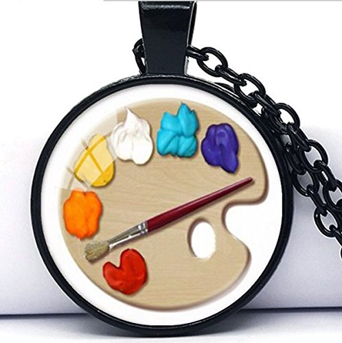 - Color Palette Photo Glass Pendant Necklace ,Art Picture Handmade Jewelry