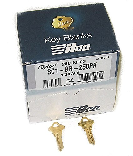 250 Ct Box (SC1 Brass Key blank, Ilco SC1-BR-250PK, 250/Box)