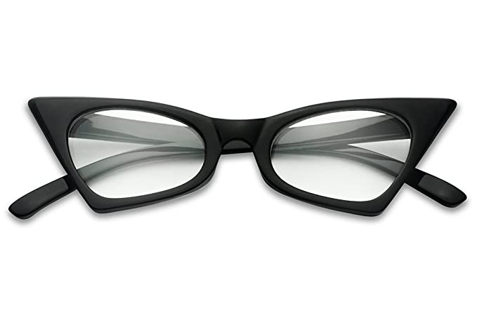 f2ab0ffeb550 Amazon.com  1950 s Retro Vintage High Pointed Colorful Clear Lens Geometric Cat  Eye Glasses Non-Prescription (Black
