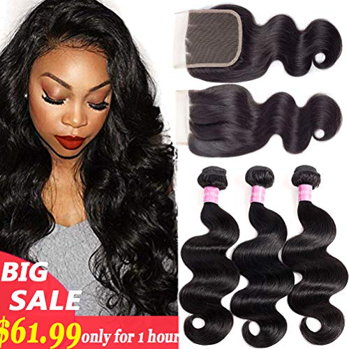 10A Brazilian Body Wave 100% Unprocessed Human Hair 3 Bundles With Closure(14 16 18+12,Three part Natural Color) Body Wave Brazilian Human Hair Bundles With - Ojos Color De
