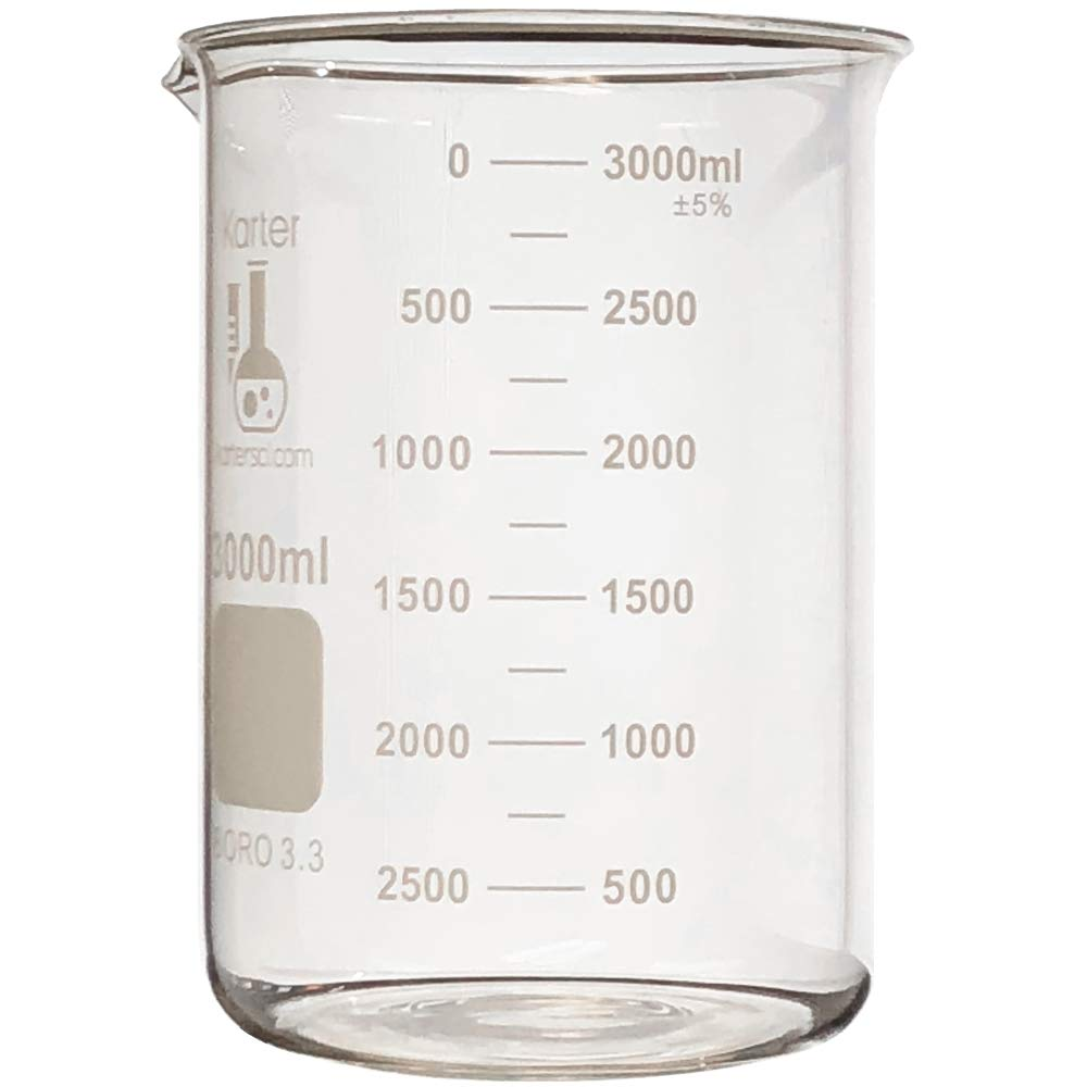 3000ml Beaker, Low Form Griffin, Borosilicate 3.3 Glass, Double Scale, Graduated, Karter Scientific 213D21 (Single)