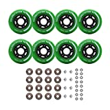 Rollerex Inline Skate/Rollerblade Wheels VXT500 80mm (8-Pack or 2-Pack or 2 Wheels w/Bearings, Spacers and Washers) (72mm Turf Green (8 Wheels w/Bearings, spacers and washers))