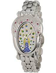 Brillier Womens 18-07 Royal Plume Peacock Inspired Swiss Genuine Red Rubies Watch