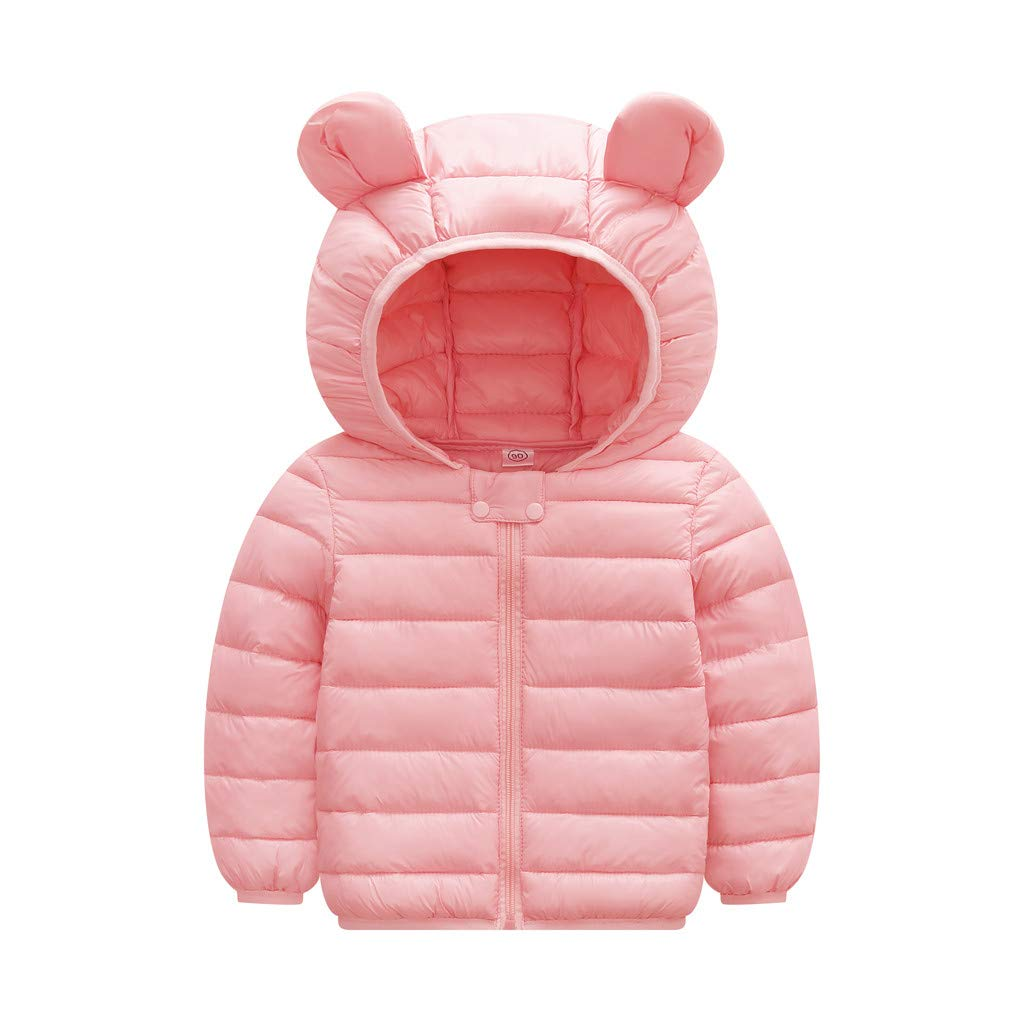 Sanmomo Baby Boys Girl Winter Coats Cartoon Ear Hooded Zip Thick Snow Outwear