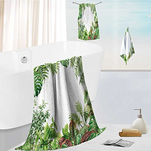 Leighhome Bath towel set Spa 3D Digital Printing hand drawn branches and leaves of tropical plants natural green background with space for text Friendly Non ()