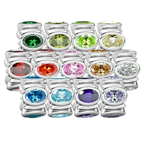 54dd7e0a5 good BELLA FASCINI Signature Oval CZ Lights - Silver European Charm Beads  Fit All Compatible Brands