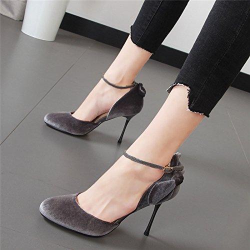 Xue Qiqi princesa zapatos de punta pajarita hueco con la alta línea de zapatos de tacón boca superficial solo zapatos zapatos de boda hembra rojo Gris