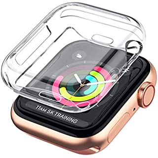 LELONG Case for Apple Watch Series SE/6/5/4/3/2 Screen Protector 38mm 42mm 40mm 44mm, [2 Pack] Soft TPU All-Around Clear Protective Case Cover for iWatch Series SE Series 6/5/4/3/2