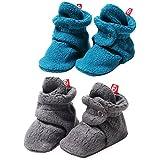 Zutano Booties Fleece Unisex Baby Booties For Boys or Girls Slippers Gray 2 Pack