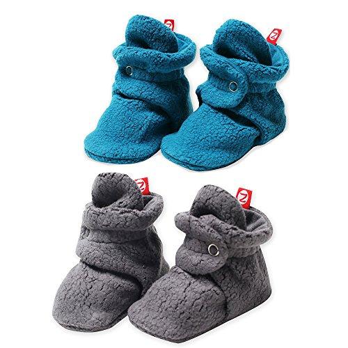 2 Pack Zutano Booties Unisex Fleece Slipper Socks Gray and Pagoda - 12M