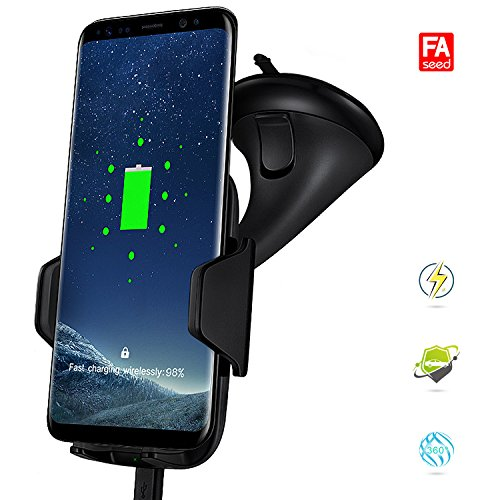 Wireless Charger Car Mount, Fast Wireless Charging Car Mount Phone Holder for Qi Enabled Devices & Phones – Safely & Securely Holds Your Smartphone & Quickly Charges Gadgets