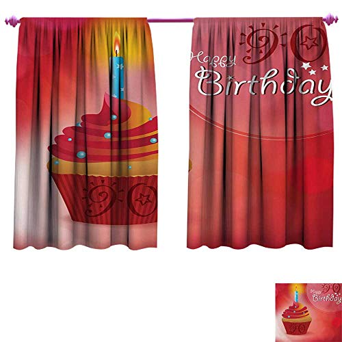 cobeDecor 90th Birthday Customized Curtains Sun and Stars Concept with Creamy Delicious Cupcake Blue Candlestick Window Curtain Drape W72 x L45 Red Orange Blue ()