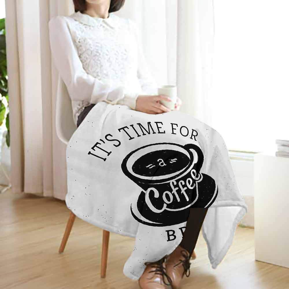 Quote Printing Throw Blanket,It is Time for a Coffee Break with Cup of Expresso Icon on Scattered Background Cozy Warm Fluffy Blanket for Chair Fall Winter Spring(70''x60'')-Black and White
