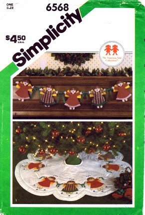 Simplicity 6568 Sewing Pattern Angel Garland Appliques Christmas Tree Skirt
