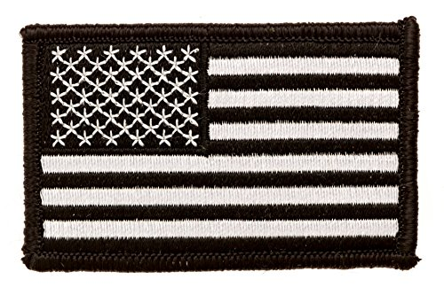 "TACTICAL BLACK & WHITE US FLAG PATCH - 3"" W x 2"" H - Hook Backing"