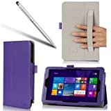 i-BLASON Asus VivoTab Note 8 Case - Leather Book Cover for M80T (Elastic Hand Strap, Multi-Angle, Card Holder) With Bonus Stylus One Year Warranty (Purple)