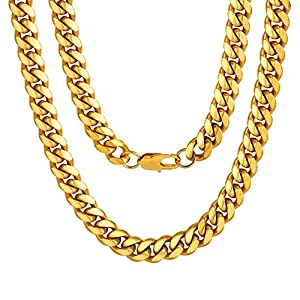 ChainsPro Men Chunky Miami Cuban Chain Necklace, Custom Available, 6/9/14mm Width, 18″ 20″ 22″ 24″ 26″ 28″ 30″ Length, Gold/Steel/Black Color (with Gift Box)