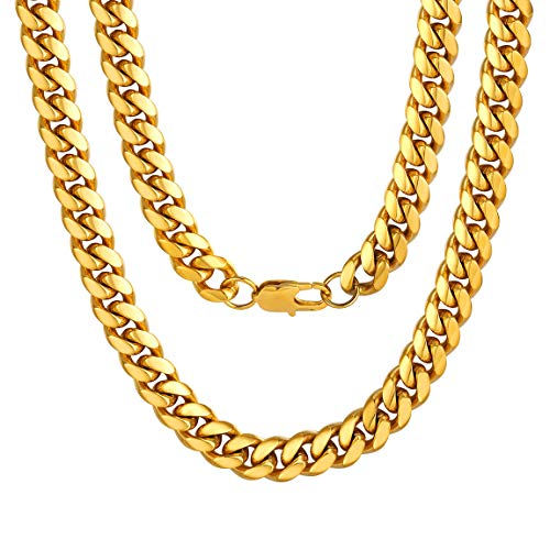 Mens Gold Chains Cuban Neckace Stainless Steel 10mm 18 Inch Boys Jewellery Golden