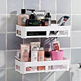 1 Bathroom Wall Storage Shelf White,Space Saving,Wall Foating Shelve Magic Sticker,Reusable,Bathroom Kitchen Corner Wall Storage Rack,Plastic Racks, Shelves By ADM-LC. (Oblong)
