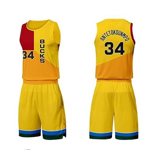 ZXY-FZLF Baloncesto Jersey Bucks City Versión # 34 Desgaste de ...