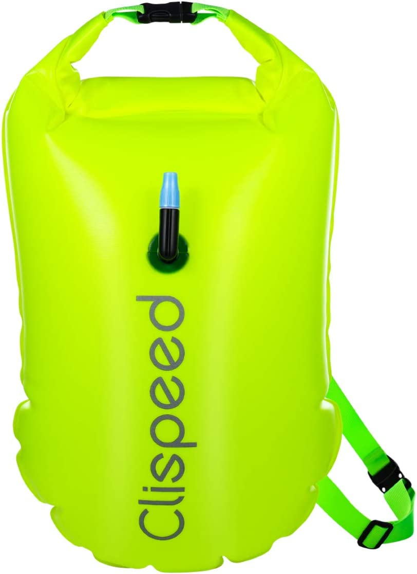 Fluo Yellow-Green CLISPEED Swim Buoy Dry Bag 18L Inflatable Waterproof Dry Bag Swimming Buoy for Open Water Swimmers