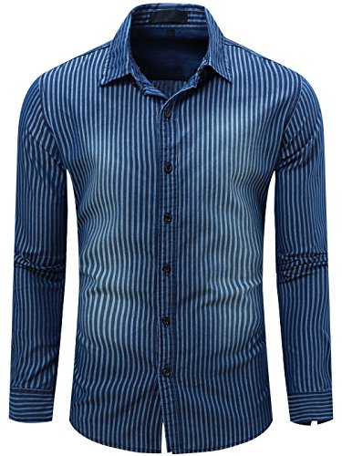 Neleus Men S Long Sleeve Button Down Stripes Cotton Shirts