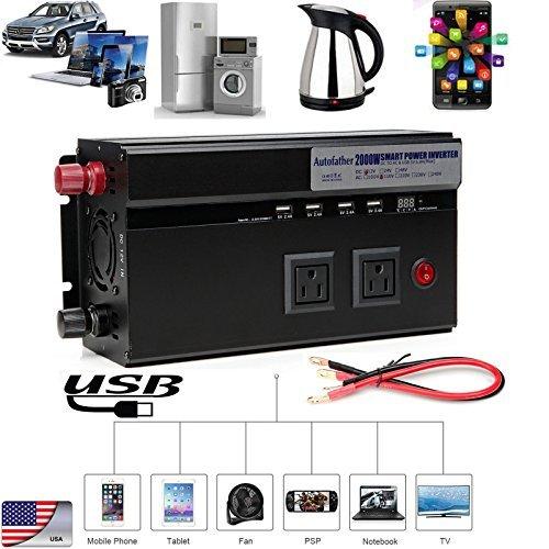 Digital Display 2000W Power Inverter DC 12V to AC 110V Portable Car Inverter with 2 AC Outlets & 4 USB Charging Ports & 2 Cigarette Socket Output