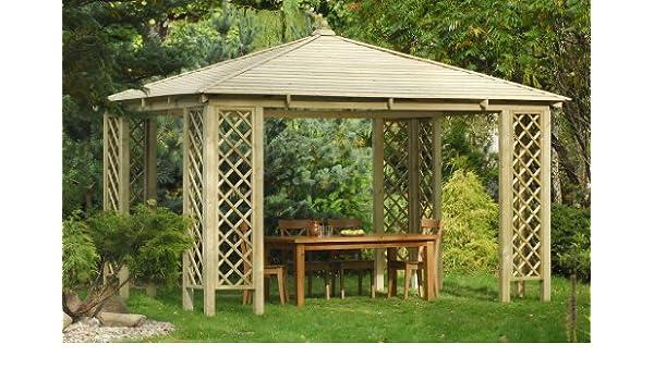 Amplio quiosco rectangular de madera para jardín. Dimensiones: 4 x 4 m x 3.1 m de altura: Amazon.es: Jardín
