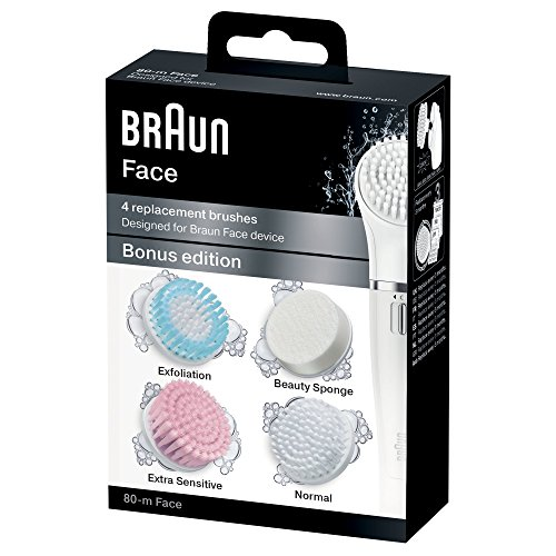 Braun Face 80m Ersatzbürsten Bonus Edition (Gesichtsreinigungsbürsten Aufsätze, Nachfüllpackung für Braun Gesichtsepilierer) 4er Pack