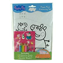 BRAND NEW PEPPA PIG COLOURING BOOK SET - COLOURING SHEETS - COLOURING PENCILS + REUSABLE STICKERS